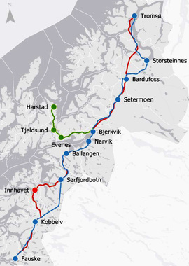FLERE VALG: Jernbanedirektoratet foreslår to mulige traseer, med en mulig sidearm til Harstad. En Nordnorgebane vil også kobles på Ofotbanen i Narvik.