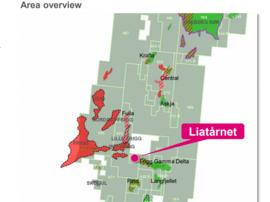 <p>Liatårnet-funnet ligger midt i det avbildede Noaka-området i Nordsjøen. Aker BP er dominerende i lisensene i sør, mens de og Equinor eier halvparten av de nordlige delene Krafla/Askja.</p>