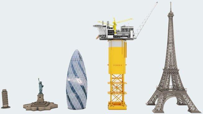 Denne grafikken illustrerer størrelsen på den enorme Spar-plattformen til Aasta Hansteen-feltet. Fra venstre: Det skjeve tårnet i Pisa, Frihetsgudinnen i New York, Aasta Hansteen og Eiffeltårnet i Paris
