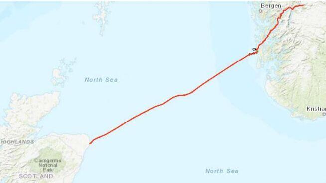 <p><b>ÅTTENDE KABEL:</b> Dette er den planlagte traseen for Skottlandskabelen Northconnect, som blir på 665 kilometer fra Eidfjord til Peterhead.</p>
