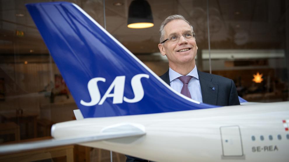 <p>Konsernsjef Rickard Gustafson i SAS avbildet på flyselskapets hovedkontor i Solna utenfor Stockholm</p>