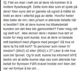 """<p><b>- UGREIT:</b> Her et av eksemplene på tilbakemeldinger Norwegian har fått i sosiale medier. Personen synes selskapets metoder er """"ugreit"""".</p>"""