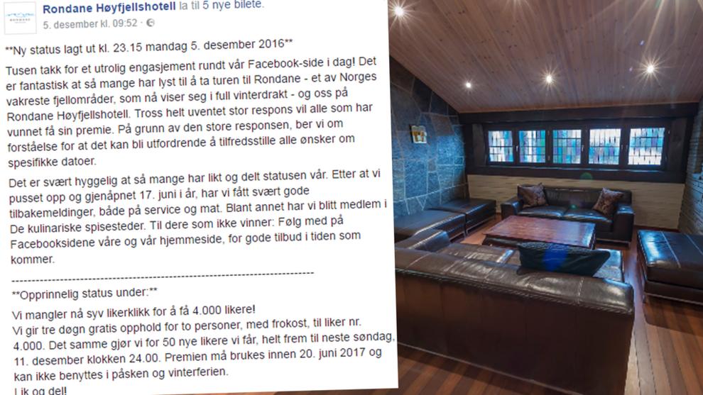 <p><b>MASSIV RESPONS:</b> Over 22.000 nye personer har likt Facebook-siden til hotellet etter de la ut denne posten.</p>