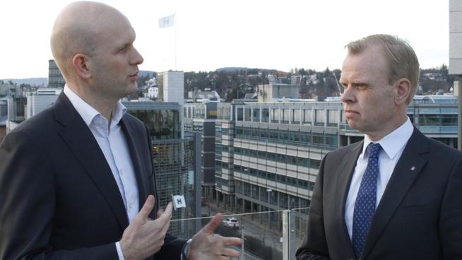 <p><b>DISKUTERTE KLIMA:</b> Øyvind Torpp, partner og leder for BCGs Oslo-kontor, (t.v.) møtte Yaras administrerende direktør Svein Tore Holsether onsdag.</p>