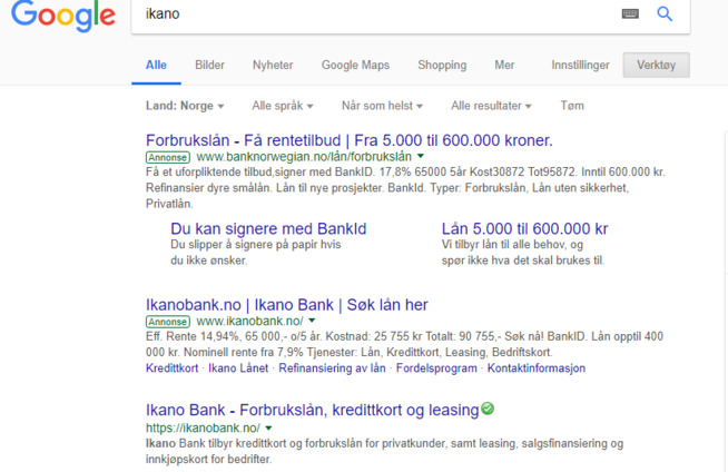 <p>SØK: Slik ser resultatet ut når E24 søkte etter Bank Norwegians konkurrent Ikano. Først er det to annonser, en for Bank Norwegian og en for Ikano, før søkeresultatet dukker opp som nummer tre.</p>