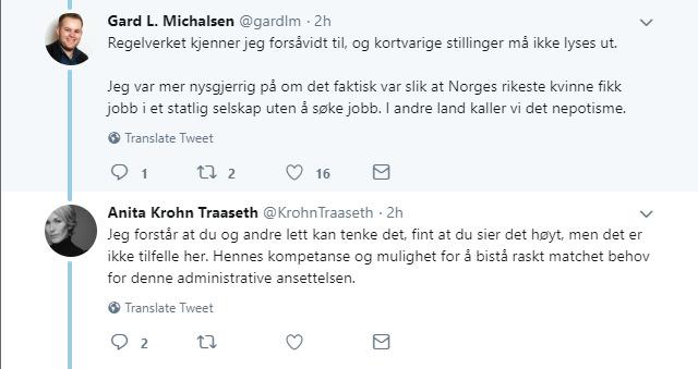 <p><b>- NEPOTISME:</b> Medier24-redaktør Gard L. Michaelsen stilte på Twitter flere spørsmål til administrerende direktør Anita Krohn Traaseth om ansettelsen av Ferd-arving Katharina Andresen.</p>