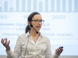 <p><b>POSITIV:</b> Sjeføkonom Kjersti Haugland i DNB Markets presenterte onsdag meglerhusets ferske prognoser for norsk og internasjonal økonomi. Utsiktene de kommende årene ser positive ut.</p>