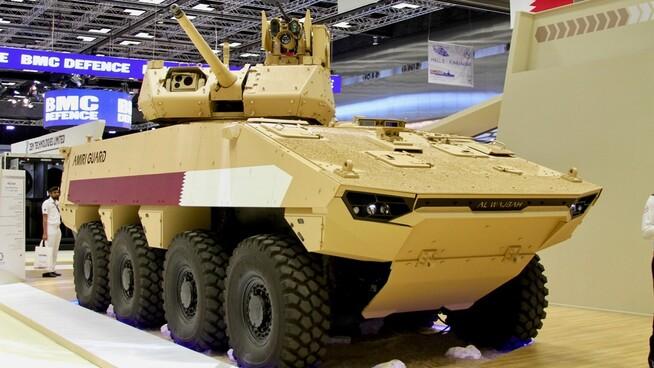Her er det pansrede kjøretøyet som Nexter skal levere til Qatar, med Kongsberg Gruppens fjernstyrte våpenstasjon «Protector Medium Caliber Turret» montert på toppen.