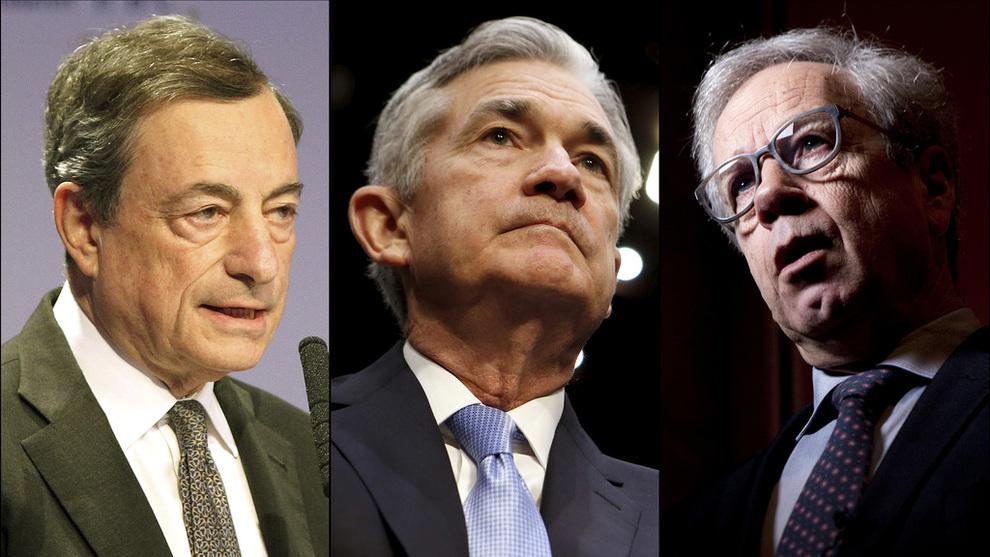 <p><b>VENTET Å TA GREP:</b> Mario Draghi, Jerome Powell og Øystein Olsen, nåværende eller påtroppende sentralbanksjefer i henholdsvis eurosonen, USA og Norge, kan alle komme til å heve rentene de kommende årene.</p>