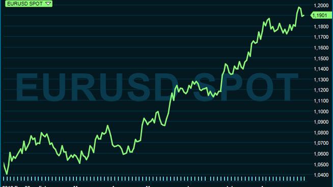 <p><b>OPP, OPP, OPP:</b> Euroen har skutt til værs på bekostning av dollaren i år.</p>