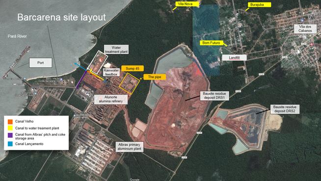 <p><b>PROBLEMANLEGGET:</b> Bildet viser Hydros Alunorte-anlegg og aluminiumfabrikken Albras. I midten og nede til høyre sees de to rødslamdeponiene. Vannrenseanlegget øverst til venstre, med Canal Velho like under (oransje pil). Lokalbefolkningens bebyggelse sees øverst i høyre billedkant.</p>
