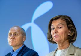 Styreleder Gunn Wærsted og konsernsjef Sigve Brekke i Telenor.