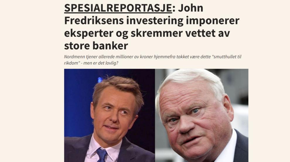 <p>Svindelsiden forestiller et intervju med John Fredriksen.</p>