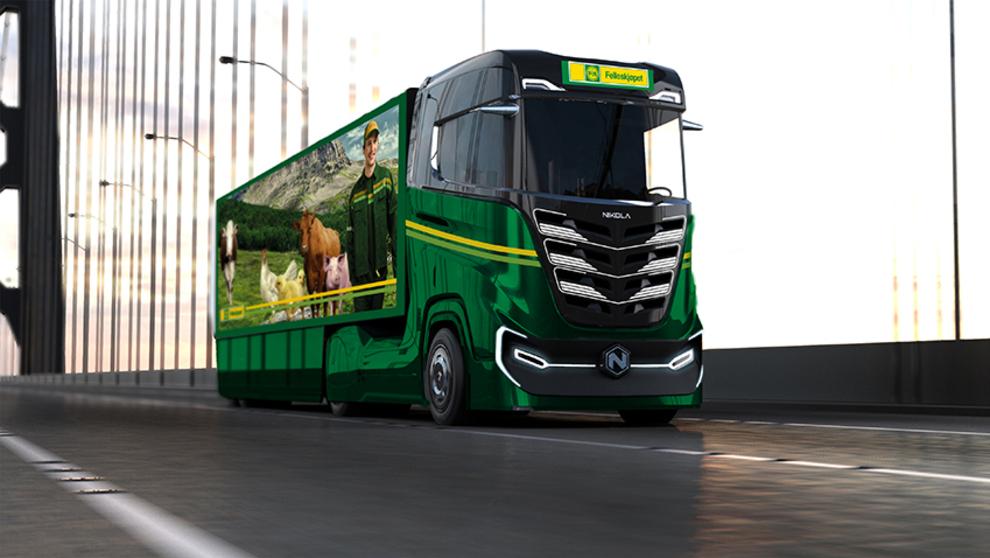<p><b>MELDER INTERESSE:</b> Felleskjøpet går inn for storsatsing på nullutspill innen transport, og har reservert 50 Nikola Tre-lastebiler.</p>
