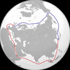 <p><b>NORDLIGE SJØRUTE:</b> Slik ser den ut (blå), langt kortere enn den sørlige sjørute (rød).</p>