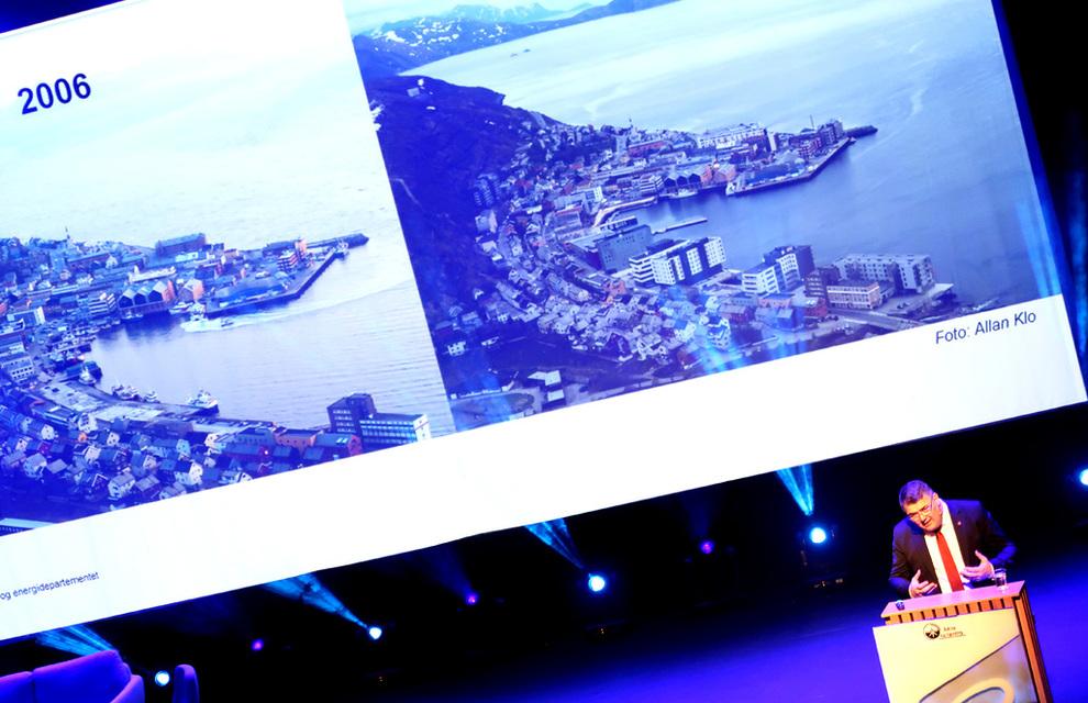 FRA KRISE TIL KLONDYKE: På seks år har Hammerfest sentrum bokstavelig talt reist seg på nytt. Bak ligger skatteinntekter og ringvirkninger fra olje og gass i Barentshavet, påpeker olje- og energiminister Kjell-Børge Freiberg på Barentshavkonferansen.