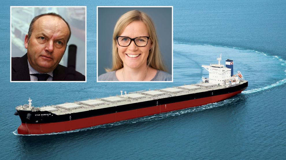 <p><b>HAR INVESTERT MILLIARDER:</b> Star Bulk og Golden Ocean har investert i skrubbere for å være klar for nye drivstoffregler. Bildet viser Star Bulkskipet Borealis som er i capesize-klassen. Innlemmet: Star Bulk Norway-sjef Herman Billung og adm.dir.Birgitte Ringstad Vardal i Golden Ocean.</p>