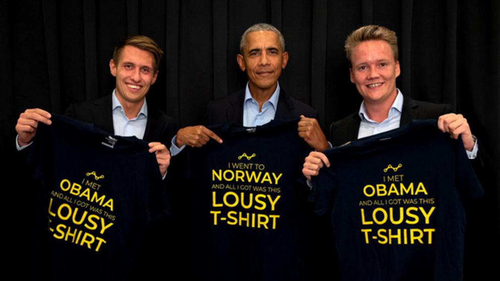 HENTET OBAMA: Marius Røed Wang og Christoffer Omberg (t.h.) brakte Barack Obama til Oslo i fjor.