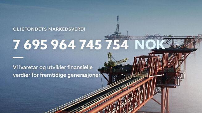 <p><b>FREDAG KVELD:</b> I går kveld falt kroneverdien av Oljefondet under 7.700 milliarder kroner.</p>