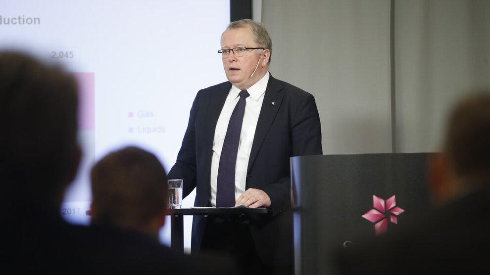<p>Konsernsjef i Equinor, Eldar Sætre, sier det er veldig nervøst i oljemarkedet og er spent på det kommende OPEC-møtet. Bildet er fra en tidligere anledning. Foto: Lise Åserud / NTB scanpix</p>