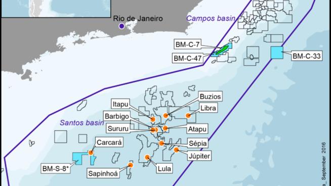 <p>Statoil og partnerne Galp og ExxonMobil fester nå grepet i Brasil etter at de gikk seirende ut av konkurransen om Carcará Nord-blokken, som ligger nederst til venstre i dette kartet over Brasils offshoresektor.</p>