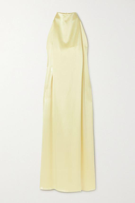 Gul, skinnende kjole