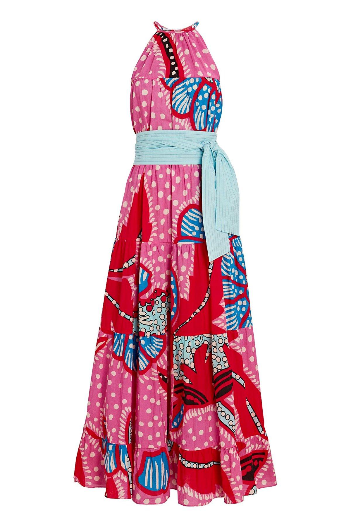 Maxi-kjole med kontrastbelte