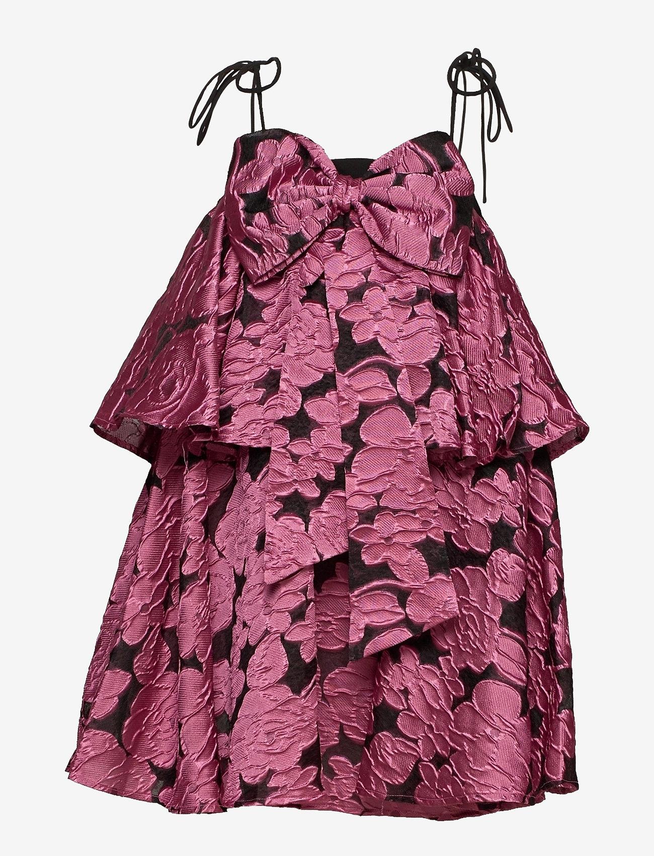 Kort, mønstrete kjole med sløyfe i front