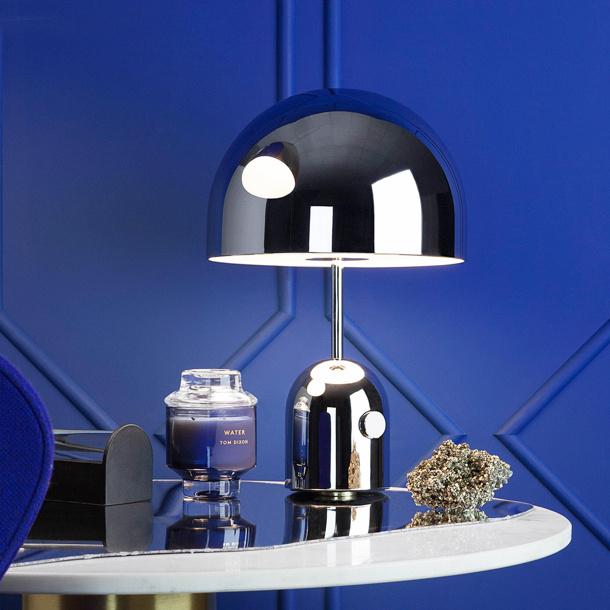 Kuppellampe med polert stålplate