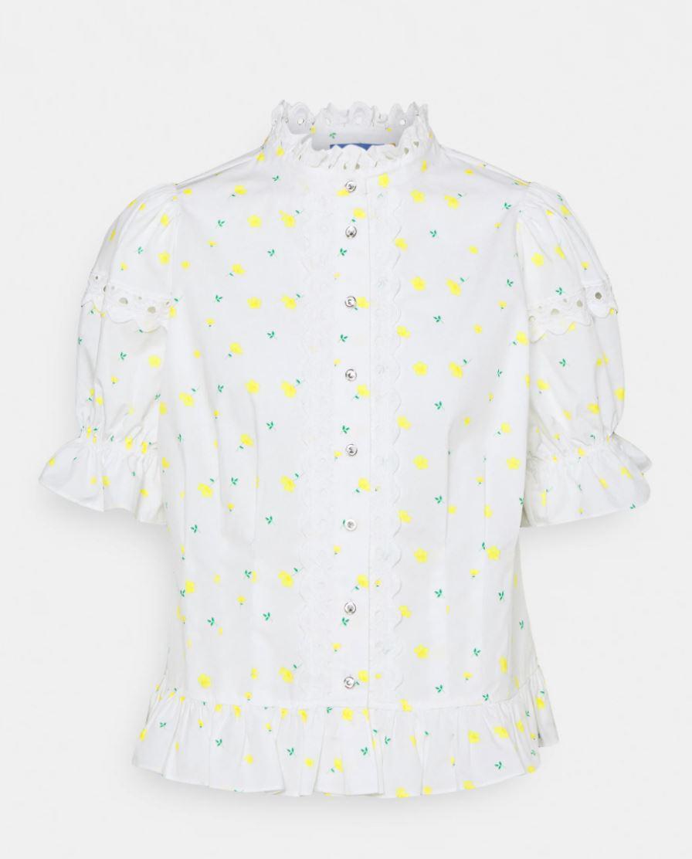 Mønstrete bluse med blonder
