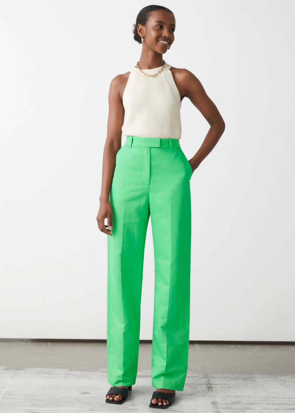 High waist-bukse med rette ben