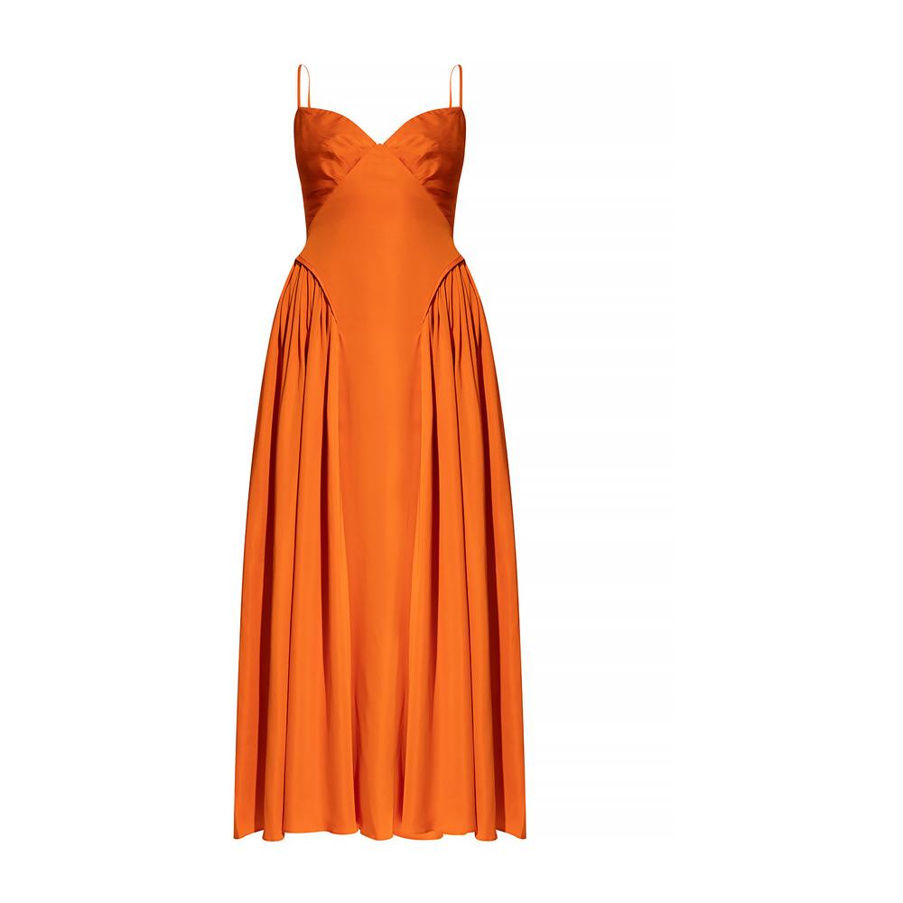 Oransje kjole med snøring i ryggen
