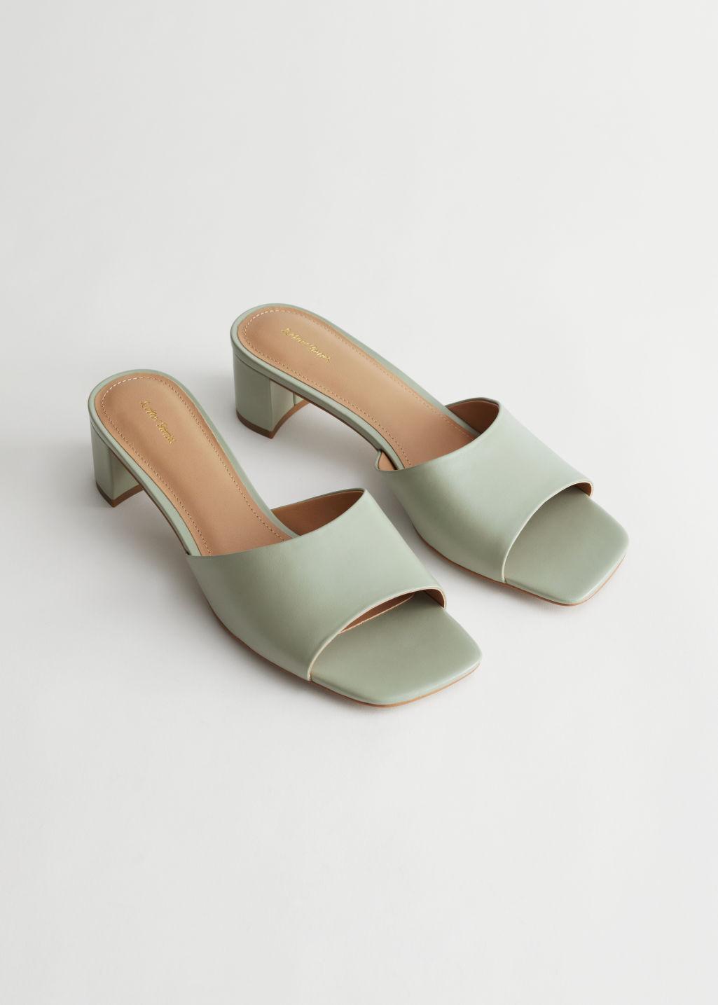 Grønne sandaler i skinn