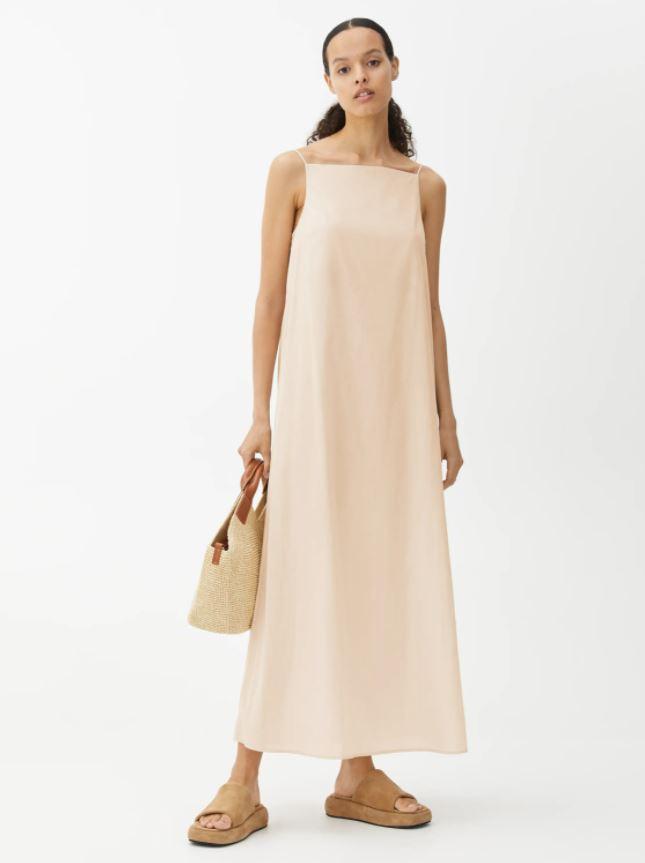 Slip-kjole i beige