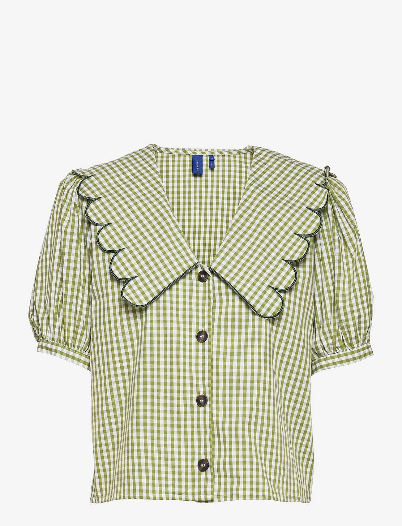 Grønn bluse med statement-krage