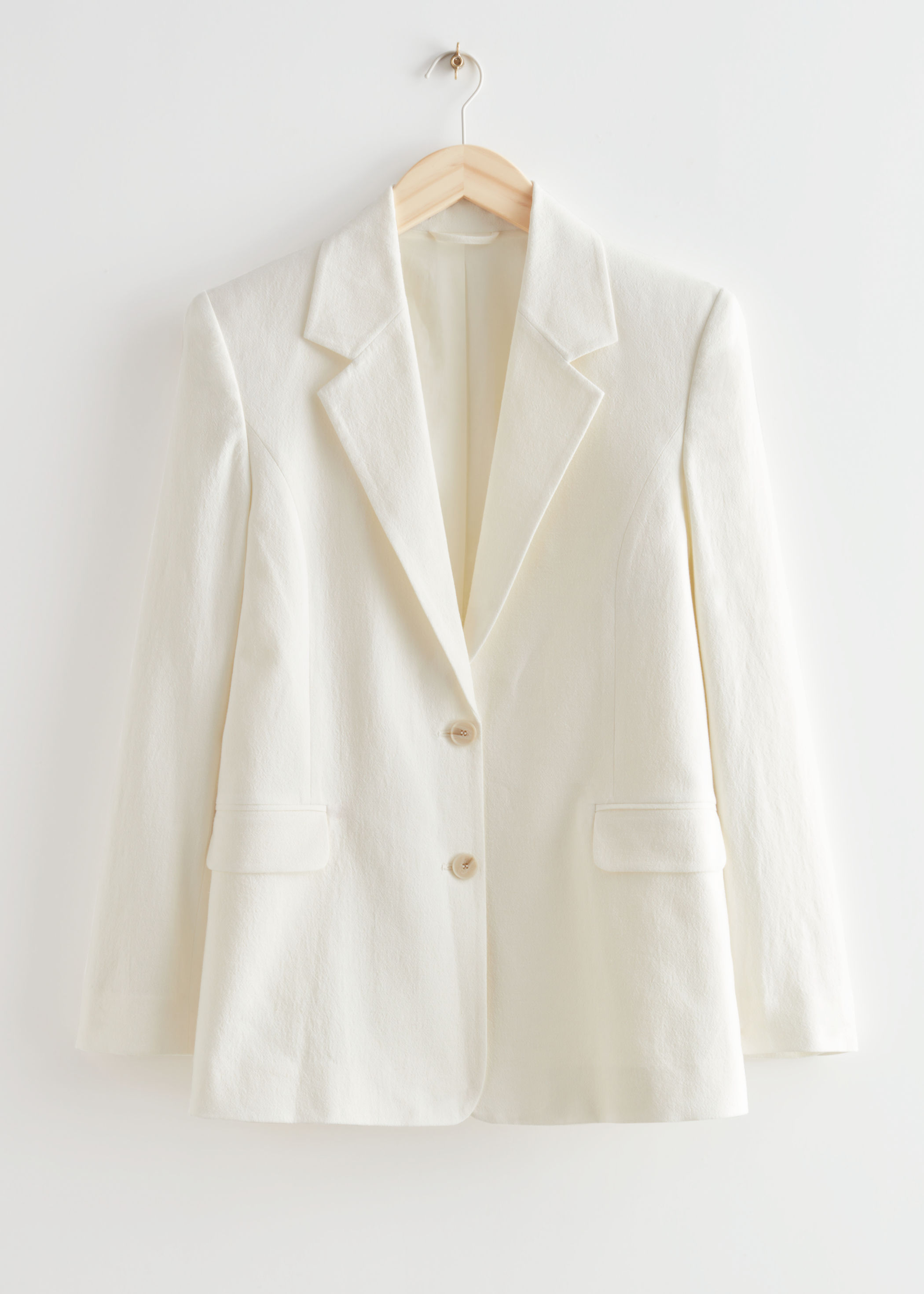 Hvit blazer i lin