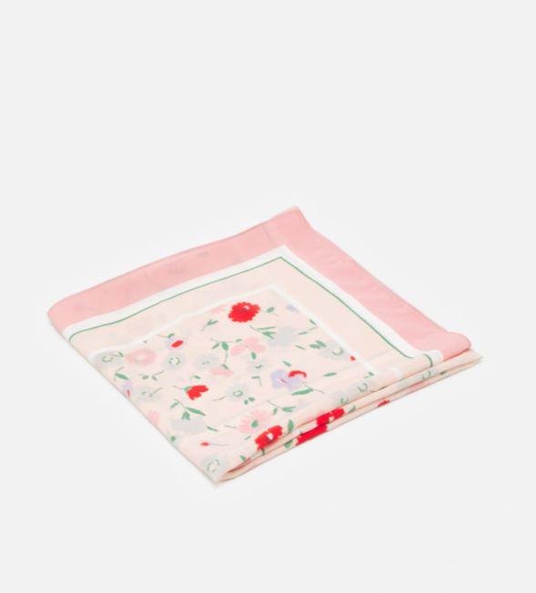 Sateng-sjal med blomstrete print