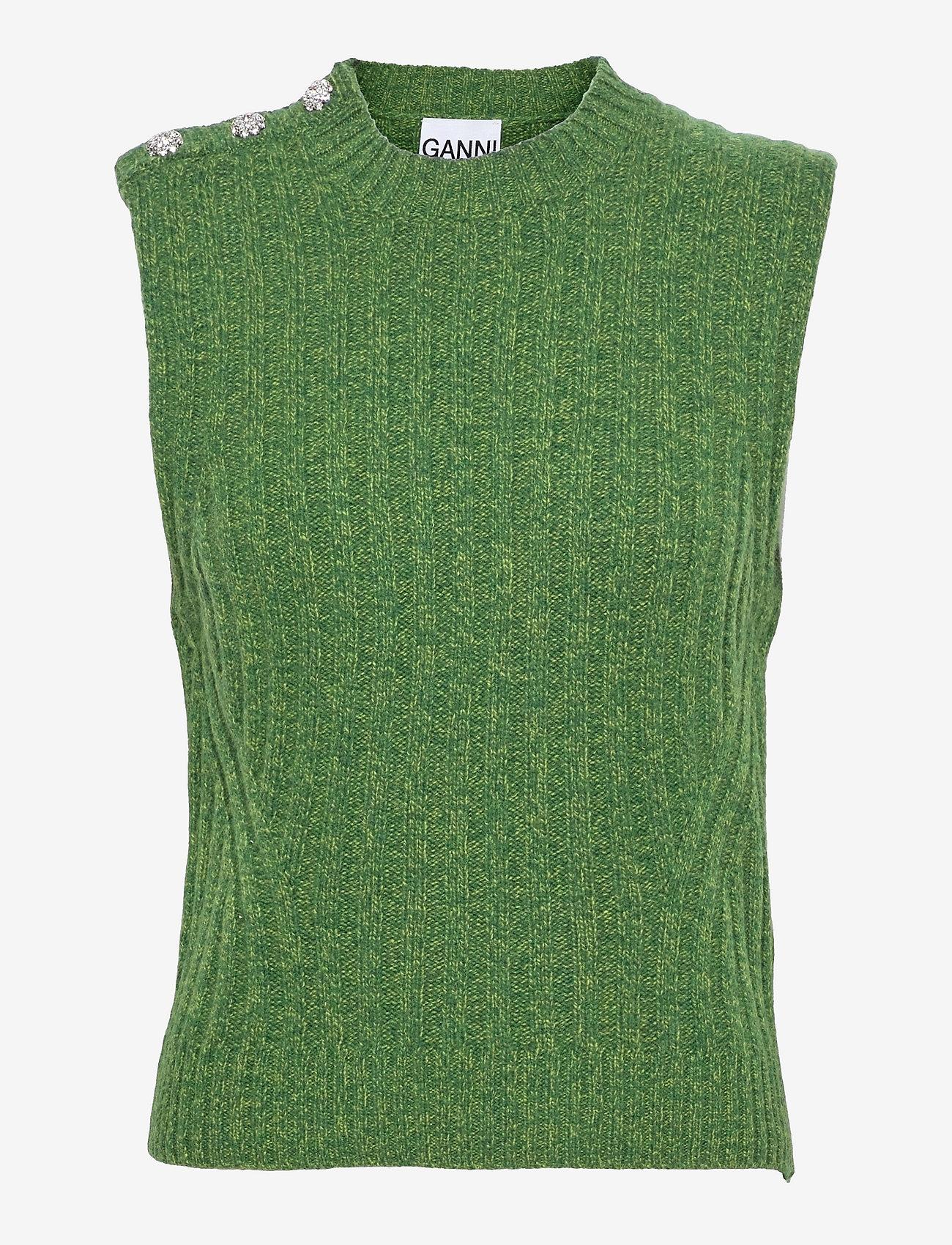 Grønn vest med detaljer på skulderen