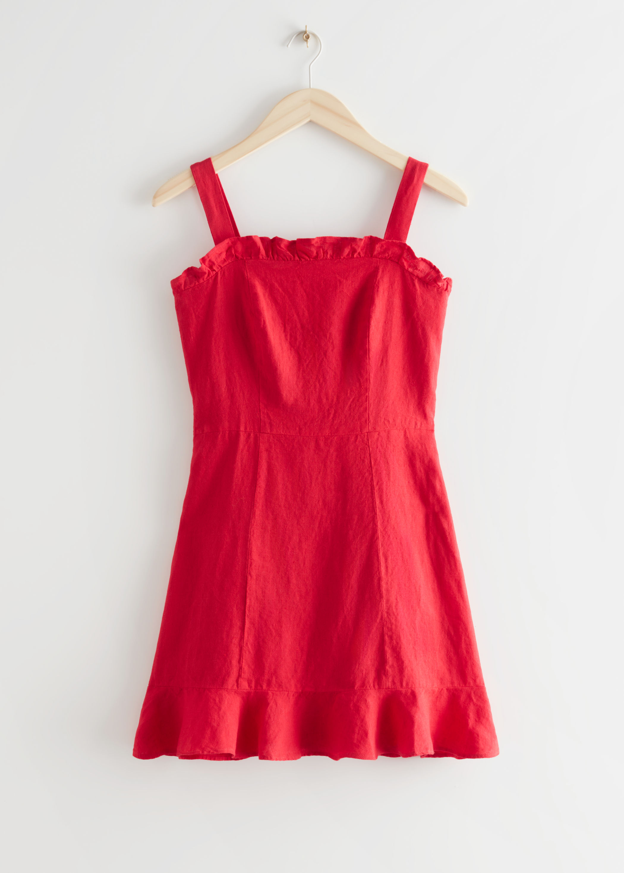 Rød kjole i lin