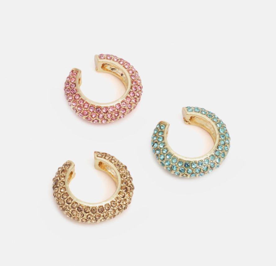 Ear cuffs i rosa, gull og turkis