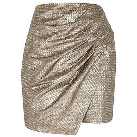 d7746b0f Old metallic wrapped drape mini skirt fra Riverisland.com. Foto: Produsenten