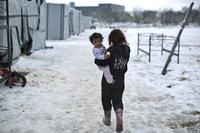 Flyktninger i Europa inne i en iskald vinter