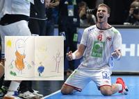 Her er tegningen fra Rasmus (4) som rørte pappa Myrhol etter VM-triumfen